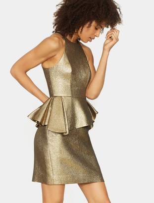 Halston Peplum Jacquard Dress