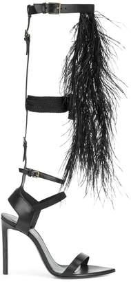 Saint Laurent ostrich feather embellished sandals