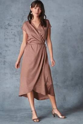 Next Womens Blush Animal Jacquard Wrap Dress