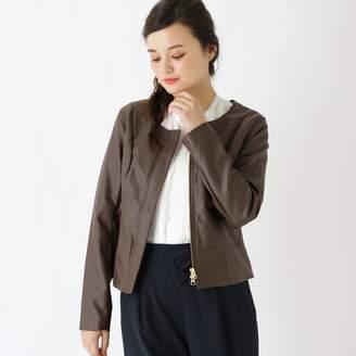 Couture Brooch (クチュール ブローチ) - クチュール ブローチ Couture brooch 【WEB限定販売】裏地花柄レザー調ジャケット (ダークブラウン)