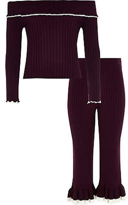 River Island Girls dark red knit ribbed bardot top outfit