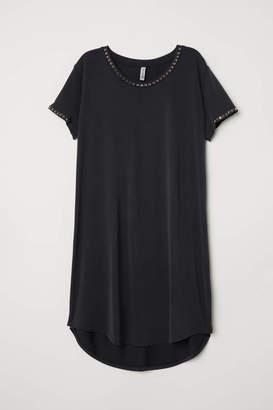 H&M T-shirt Dress with Studs - Dark gray/studs - Women