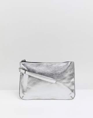 5a3e1cf60178 Asos Design DESIGN zip top wristlet clutch bag in metallic