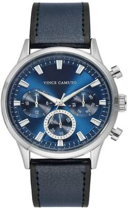Vince Camuto Men's Navy Blue Leather Strap Watch, 43mm