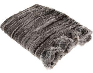 Adrienne Landau Goma Knit Throw- Black/White