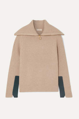 Tory Burch Two-tone Ribbed Wool-blend Sweater - Beige