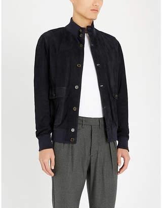 Eleventy Funnel-neck suede jacket