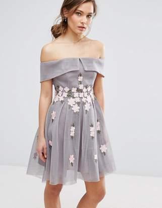 New Look Premium Floral Mesh Bardot Skater Dress