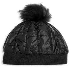 Bari Lynn Kid's Fox Fur-Tip Pom-Pom Puffy Hat