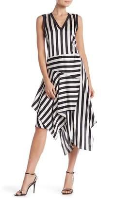 Nicole Miller Jax Silk Blend Stripe Asymmetrical Dress