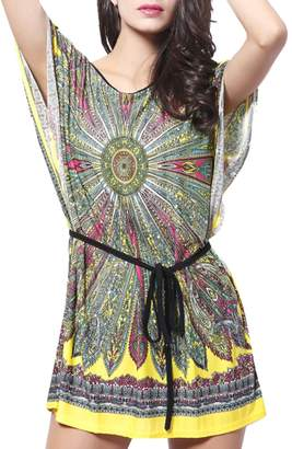 jiayou Women Short Batwing Sleeve O Neck Loose Above Knee Length Dress with Sashes