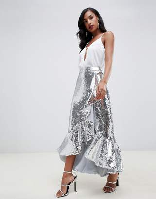 TFNC sequin high low skirt with frills in silver