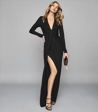 Reiss HARLYN Plunge twist front maxi dress Black