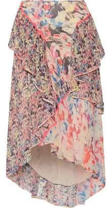 Jason Wu Asymmetric Ruffled Floral-Print Silk-Georgette Midi Skirt