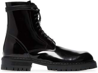 Ann Demeulemeester black patent leather chunky lace-up boots