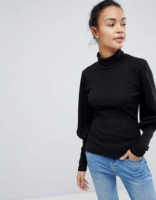 Fashion Union High Neck Top With Puff Sleeves