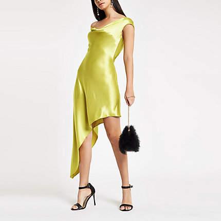 Womens Green diamante strap asymmetric slip dress
