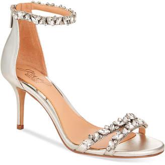 Badgley Mischka Caroline Embellished Ankle-Strap Evening Sandals Women's Shoes