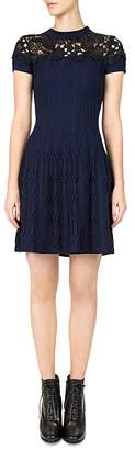 The Kooples Ribbed Lace-Inlay Dress