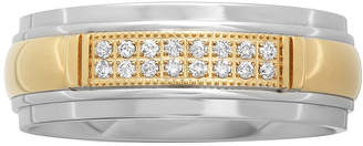 JCPenney MODERN BRIDE Personalized Mens 1/10 CT. T.W. Diamond 8mm Two-Tone Stainless Steel Wedding Band