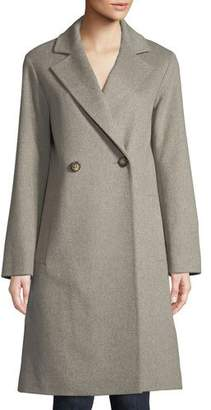 Fleurette Long Double-Breasted Wool Coat