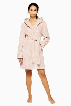 Topshop Womens Pink Spot Textured Dressing Gown - Ice Pink