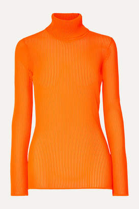 Victoria Victoria Beckham Victoria, Victoria Beckham - Neon Ribbed Stretch-knit Turtleneck Top - Bright orange