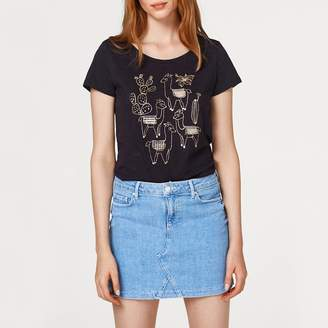 Esprit Short-Sleeved Crew Neck T-Shirt with Print on Front
