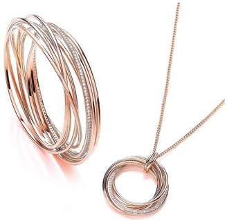 Buckley London Buckley London Rose Gold Plated Cubic Zirconia Elegance Russian Twist Bangle & Necklace Set With FREE Gift Bag