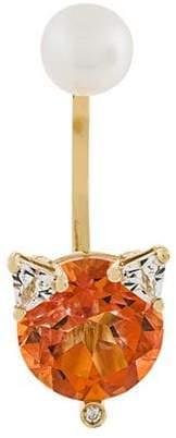 18kt Goldohrring mit Topas, Perle und Diamanten