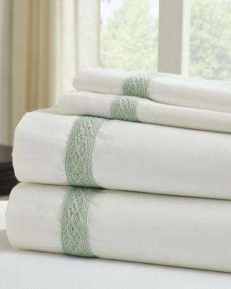Colonial Home 600 Thread Count Cotton Rich Daisy Lace Hem 4Pc Sheet Set
