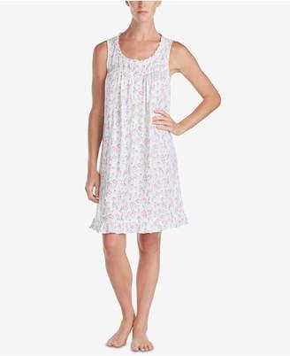 Eileen West Floral-Print Ruffle-Trim Knit Nightgown