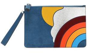 Anya Hindmarch Suede Smooth And Snake-Effect Leather Pouch