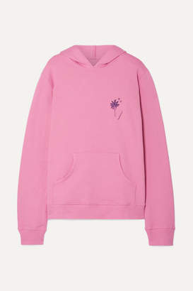 The Elder Statesman Printed Cotton-fleece Hooded Top - Pink
