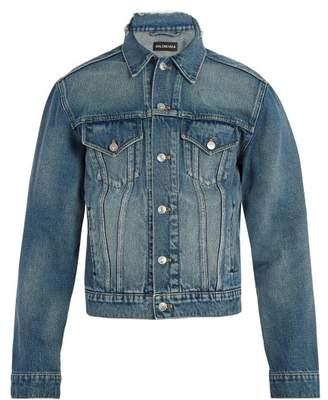Balenciaga Slim Fit Logo Embroidered Denim Jacket - Mens - Blue