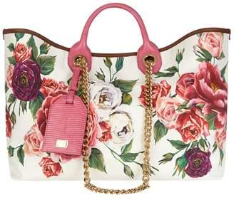 Dolce & Gabbana Large Canvas Peony Capri Shopping Bag