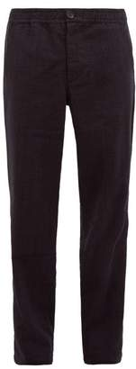 Oliver Spencer Checked Drawstring Wool Blend Trousers - Mens - Navy