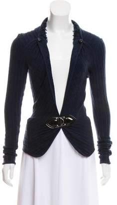 Zac Posen Rib Knit Collared Cardigan