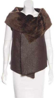 Elizabeth and James Leather Fur Faux Vest