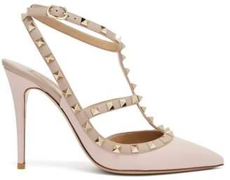 Valentino - Rockstud Leather Pumps - Womens - Light Pink