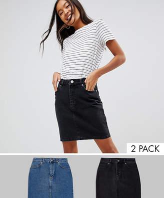 Asos DESIGN denim original high waisted skirt in washed black and mid blue 2 pack