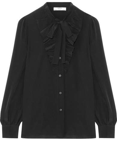 Prada - Pussy-bow Ruffle-trimmed Silk Crepe De Chine Blouse - Black