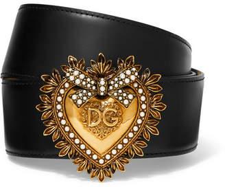 Dolce & Gabbana Embellished Leather Waist Belt - Black