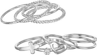 Lauren Conrad Heart, Cross & Textured Ring Set