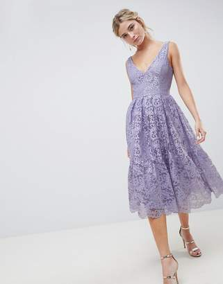 Asos Design DESIGN lace plunge neck midi prom dress