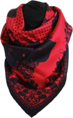 Belle Epoque L'illustration Red & Black Elephant Silk Scarf