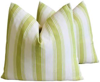 One Kings Lane Vintage French Green & White Striped Pillows - Pr