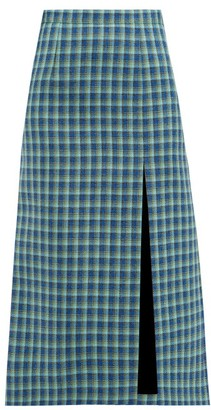 Balenciaga Side Slit Checked Wool Midi Skirt - Womens - Blue Multi