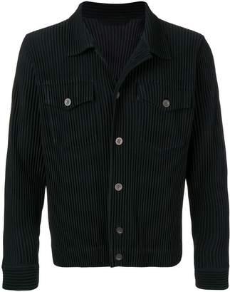 Issey Miyake Homme Plissé button-up denim jacket