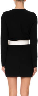 Givenchy Crewneck Long-Sleeve Button-Placket Self-Belt Wool Dress